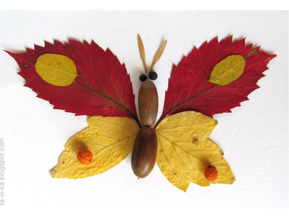 Аппликация поделки из сухих листьев