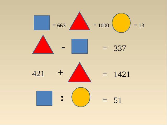 = 663 = 1000 = 13 = 51 = 1421 = 337 421 + : -