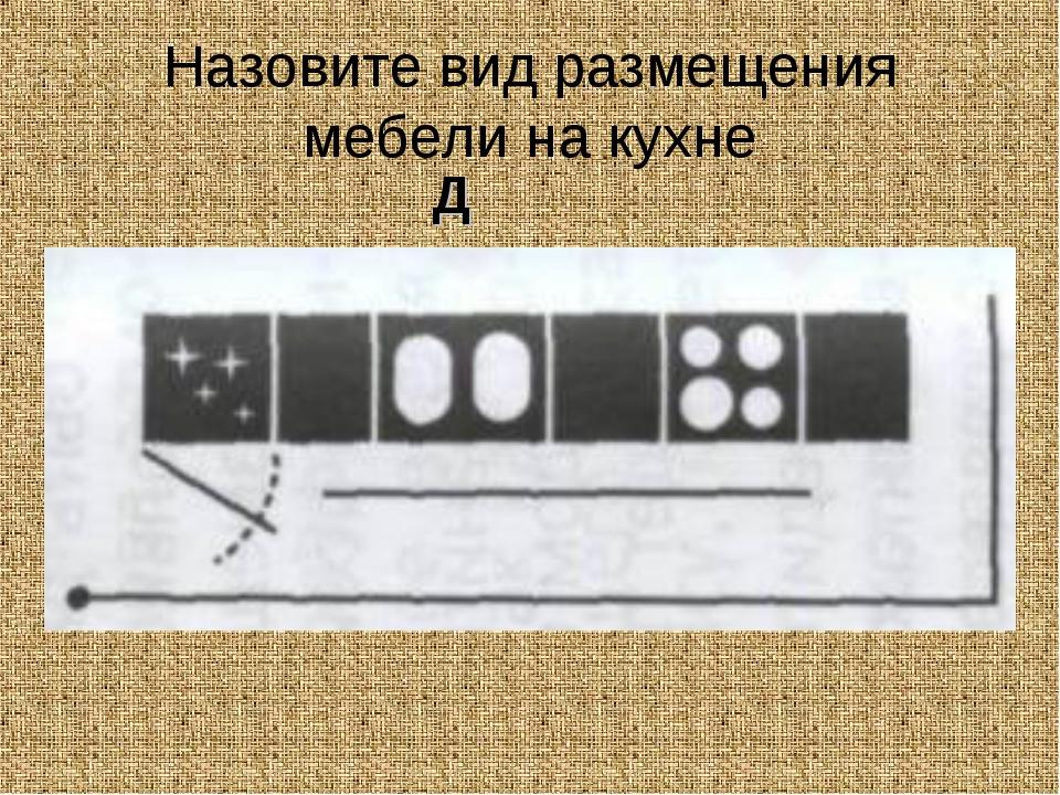 Назовите вид размещения мебели на кухне Д