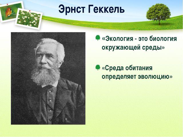 Эрнст Геккель «Экология - это биология окружающей среды» «Среда обитания опре...