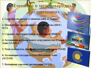 Членство в международных организациях 1. Содружество наций (Commonwealth of N