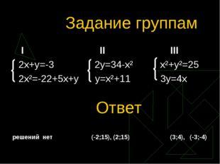 Задание группам I II III 2x+y=-3 2y=34-x² x²+y²=25 2x²=-22+5x+y y=x²+11 3y=4x