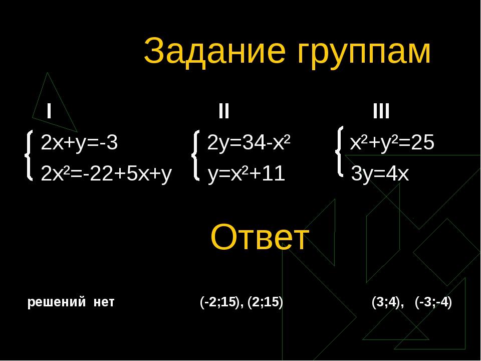 Задание группам I II III 2x+y=-3 2y=34-x² x²+y²=25 2x²=-22+5x+y y=x²+11 3y=4x...