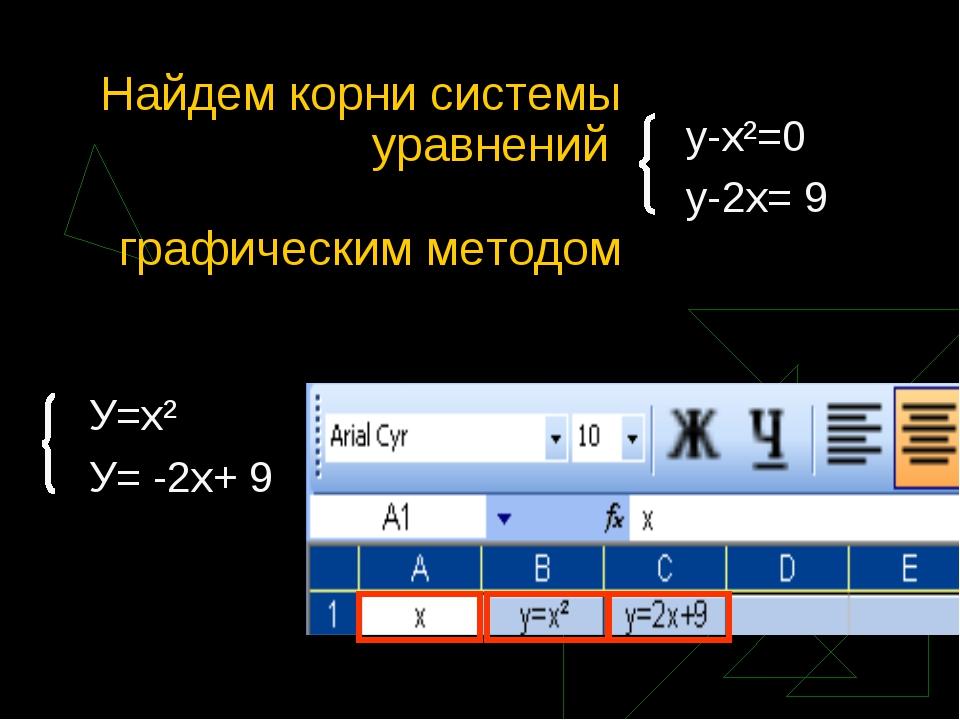Найдем корни системы уравнений графическим методом у-х²=0 у-2х= 9 У=х² У= -2х...