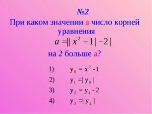 №2 При каком значении a число корней уравнения на 2 больше а?