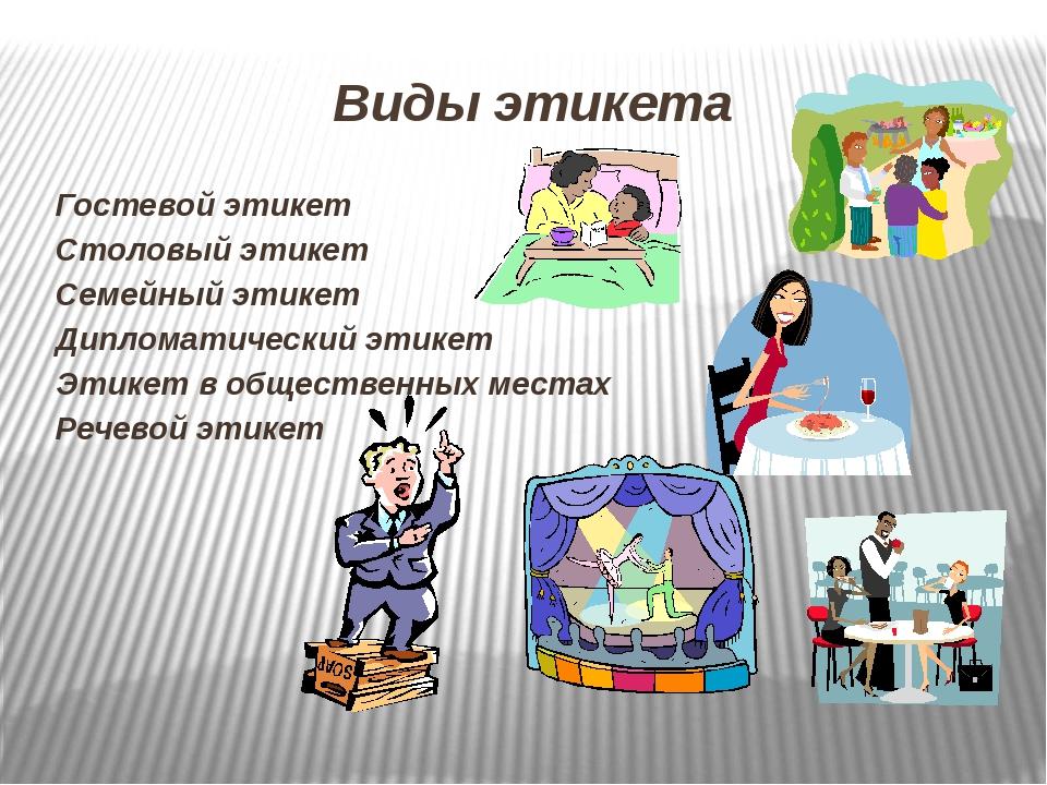 Виды этикета Гостевой этикет Столовый этикет Семейный этикет Дипломатический...