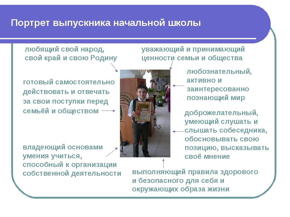 Портрет выпускника начальной школы любящий свой народ, свой край и свою Родин...