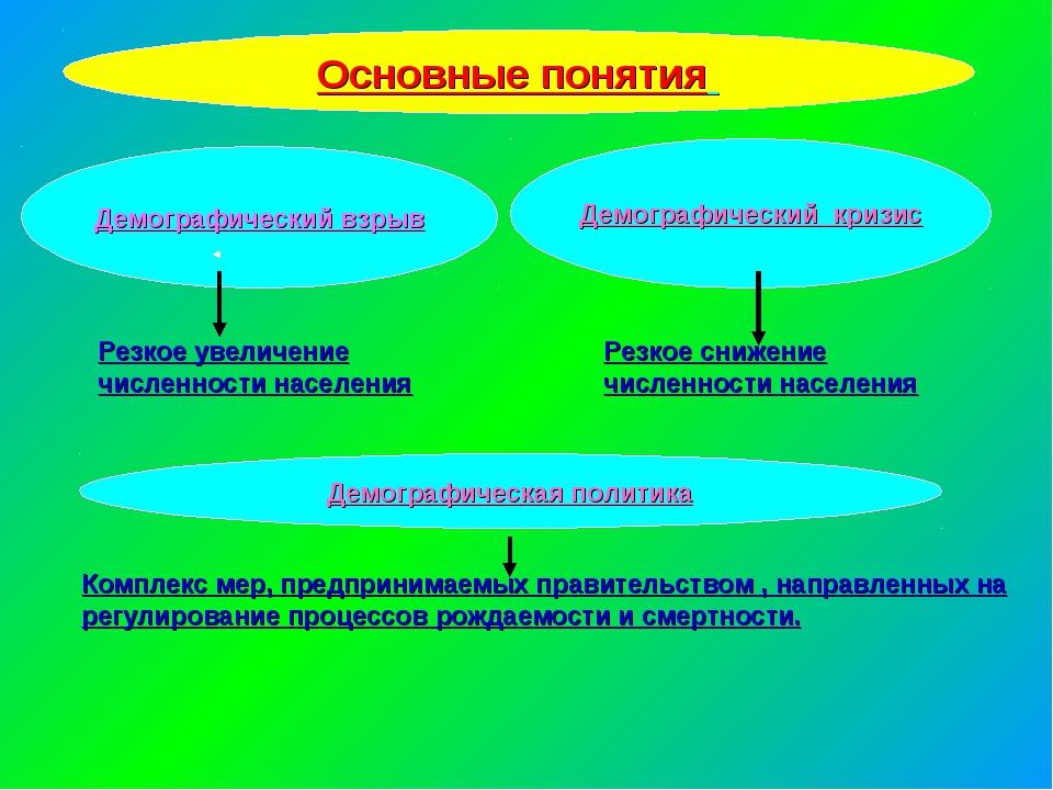 Основные понятия Демографический взрыв Демографический кризис Резкое увеличен...