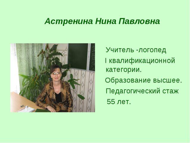 Астренина Нина Павловна Учитель -логопед I квалификационной категории. Образ...