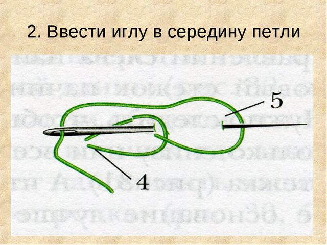 2. Ввести иглу в середину петли