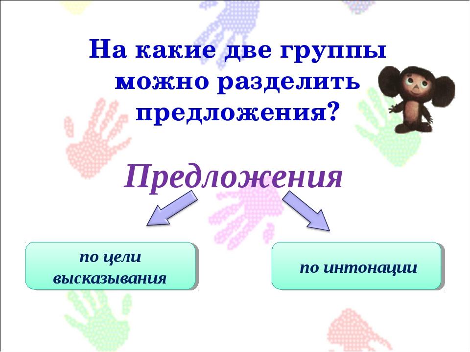 Предложения На какие две группы можно разделить предложения? по цели высказыв...