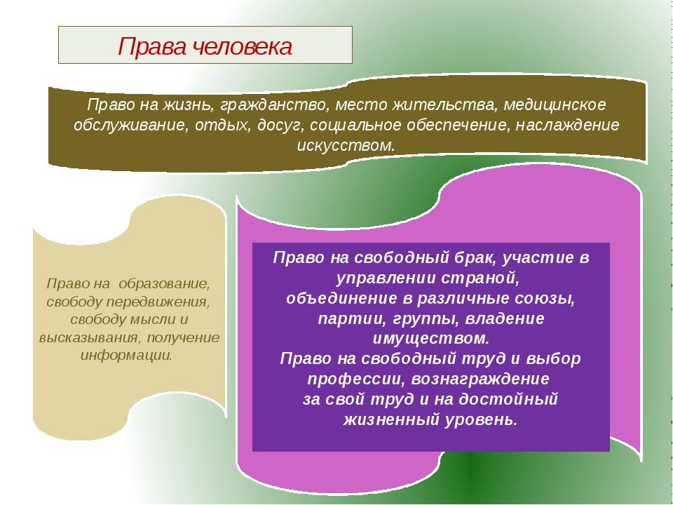 Права человека Право на жизнь, гражданство, место жительства, медицинское обс...