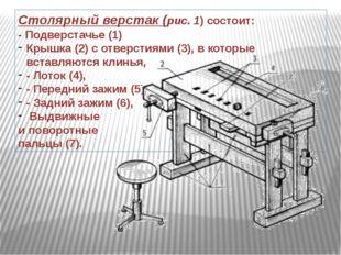 Столярный верстак(рис. 1) состоит: - Подверстачье (1) Крышка (2) с отверстия