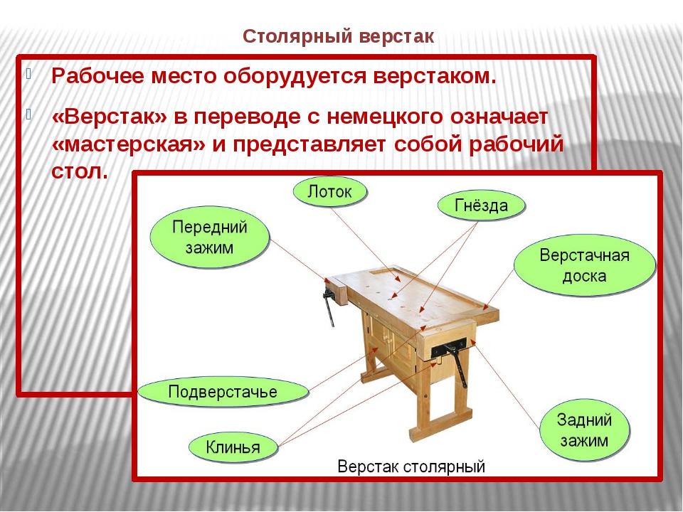 Столярный верстак Рабочее место оборудуется верстаком. «Верстак» в переводе с...