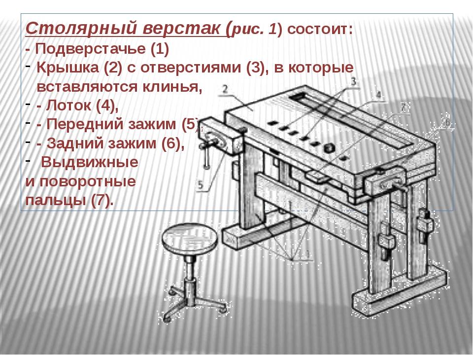 Столярный верстак(рис. 1) состоит: - Подверстачье (1) Крышка (2) с отверстия...