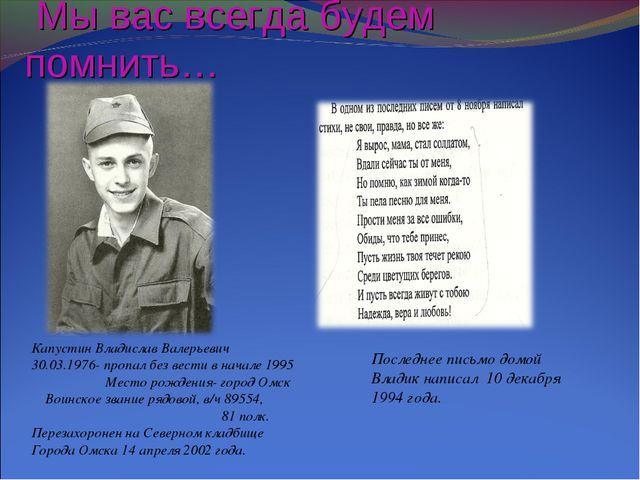 Мы вас всегда будем помнить… Капустин Владислав Валерьевич 30.03.1976- пропа...