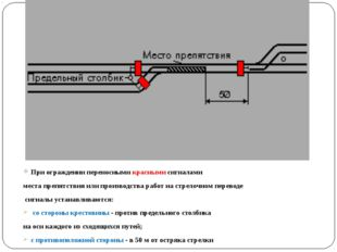 При ограждении переносными красными сигналами места препятствия или производс