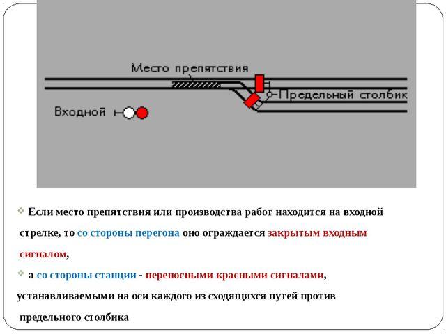 Если место препятствия или производства работ находится на входной стрелке, т...