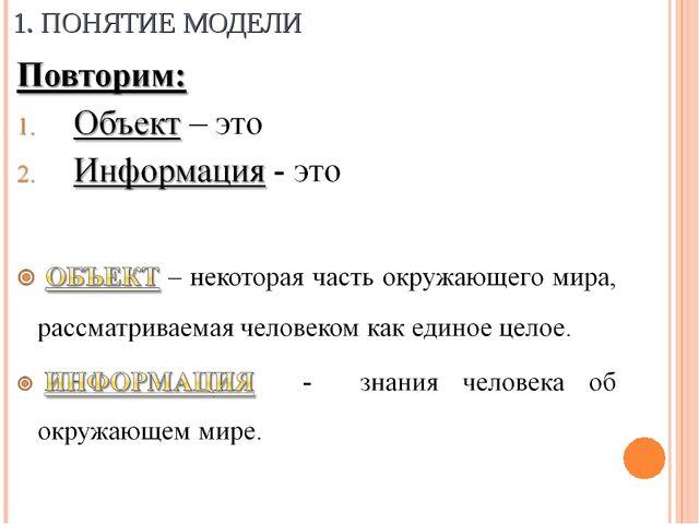 1. ПОНЯТИЕ МОДЕЛИ Морозова Марина Владимировна ГОУ СОШ №402