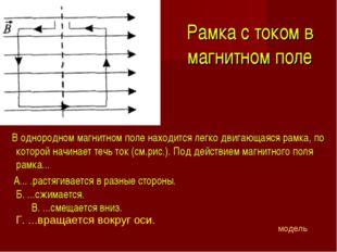 Рамка с током в магнитном поле В однородном магнитном поле находится легко дв
