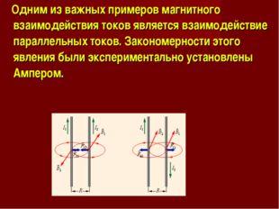 Одним из важных примеров магнитного взаимодействия токов является взаимодейс