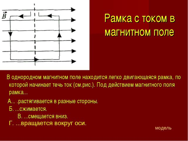 Рамка с током в магнитном поле В однородном магнитном поле находится легко дв...