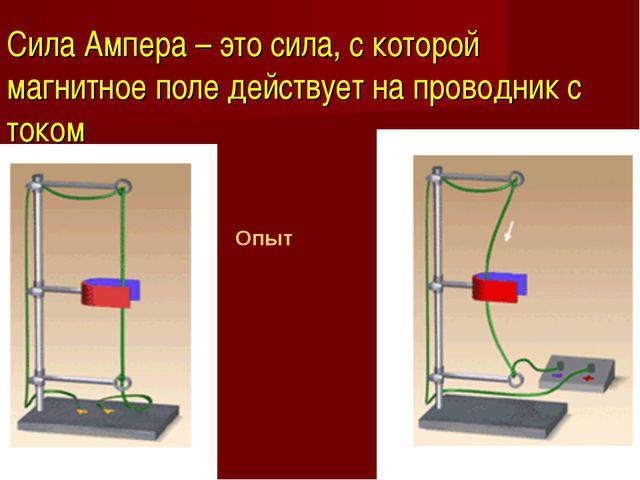 Сила Ампера – это сила, с которой магнитное поле действует на проводник с ток...