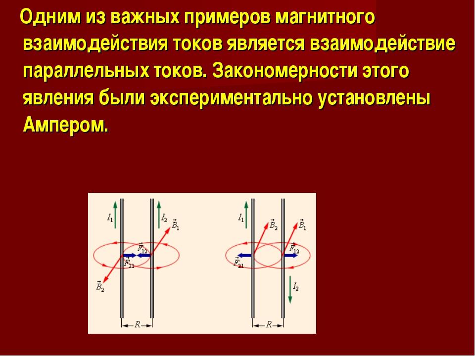 Одним из важных примеров магнитного взаимодействия токов является взаимодейс...