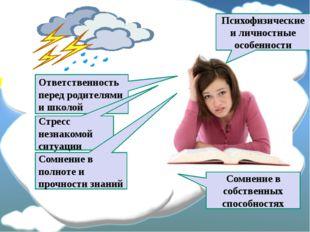 Ответственность перед родителями и школой Стресс незнакомой ситуации Сомнение