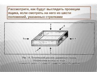 Рассмотрите, как будут выглядеть проекции ящика, если смотреть на него из шес