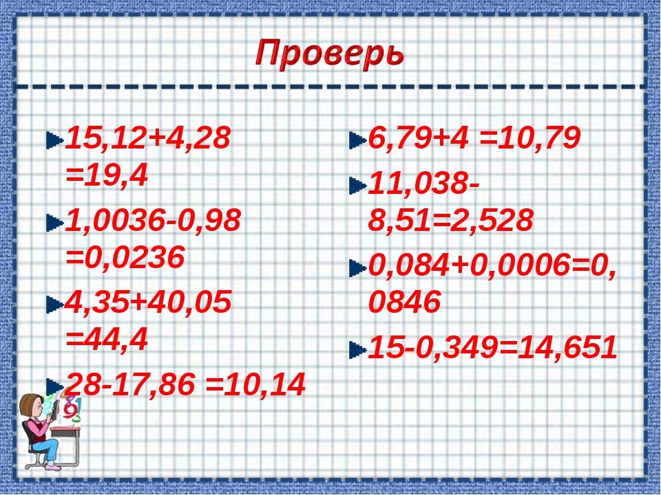 15,12+4,28 =19,4 1,0036-0,98 =0,0236 4,35+40,05 =44,4 28-17,86 =10,14 6,79+4...
