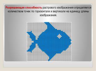 Разрешающая способность растрового изображения определяется количеством точек
