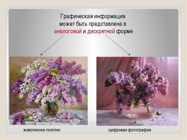 Графическая информация может быть представлена в аналоговой и дискретной форм...