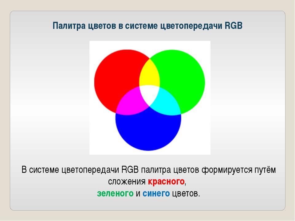 Палитра цветов в системе цветопередачи RGB В системе цветопередачи RGB палитр...