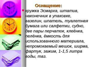 Оснащение: кружка Эсмарха, штатив, наконечник в упаковке, вазелин, шпатель,