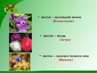 цветок – маленький звонок (Колокольчик) цветок – звезда (Астра) цветок – лас