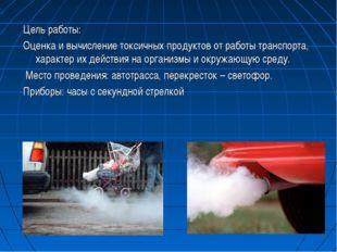 Цель работы: Оценка и вычисление токсичных продуктов от работы транспорта, ха