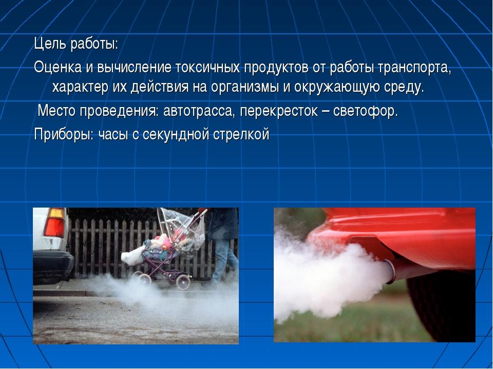 Цель работы: Оценка и вычисление токсичных продуктов от работы транспорта, ха...