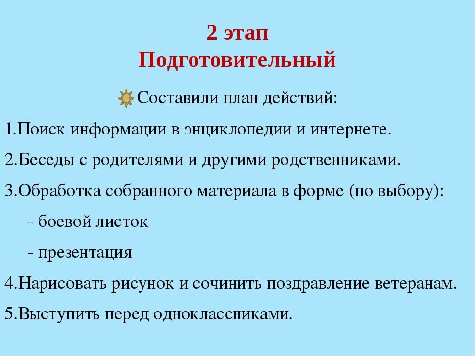 2 этап Подготовительный Составили план действий: 1.Поиск информации в энцикло...