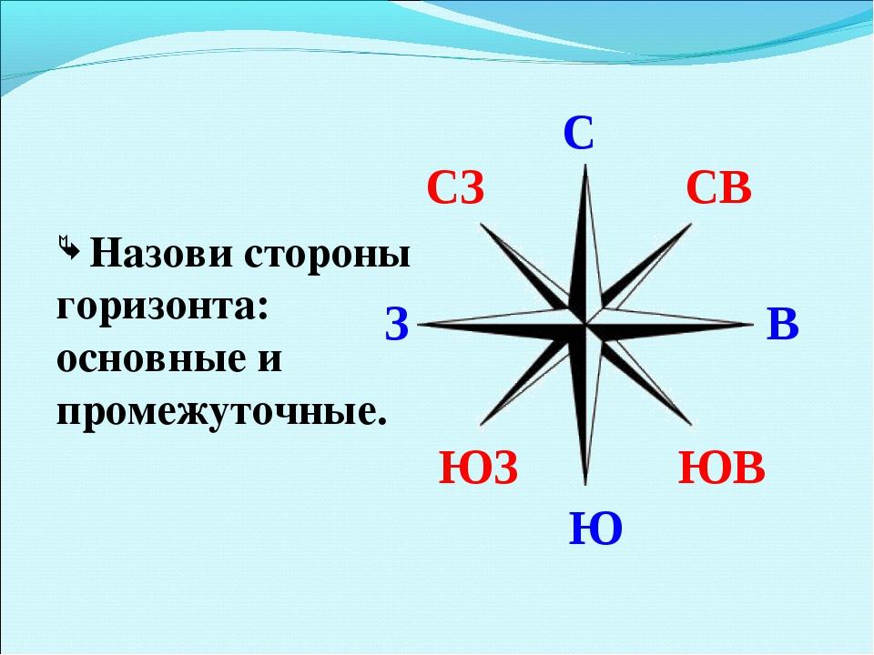 Назови стороны горизонта: основные и промежуточные. С Ю В З СВ ЮВ СЗ ЮЗ