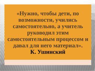«Нужно, чтобы дети, по возможности, учились самостоятельно, а учитель руково
