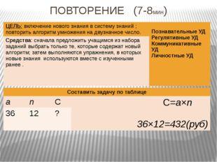 ПОВТОРЕНИЕ (7-8мин) ЦЕЛЬ:включение нового знания в систему знаний; повторить