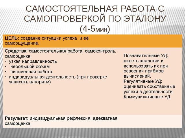 САМОСТОЯТЕЛЬНАЯ РАБОТА С САМОПРОВЕРКОЙ ПО ЭТАЛОНУ (4-5мин) ЦЕЛЬ:создание ситу...