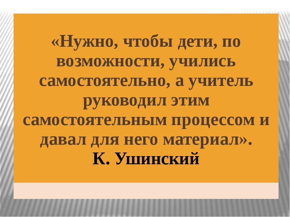 «Нужно, чтобы дети, по возможности, учились самостоятельно, а учитель руково...