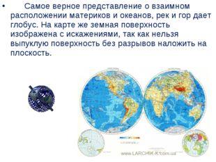 Самое верное представление овзаимном расположении материков и океанов,