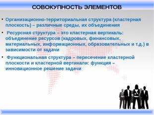 Организационно-территориальная структура (кластерная плоскость) – различные