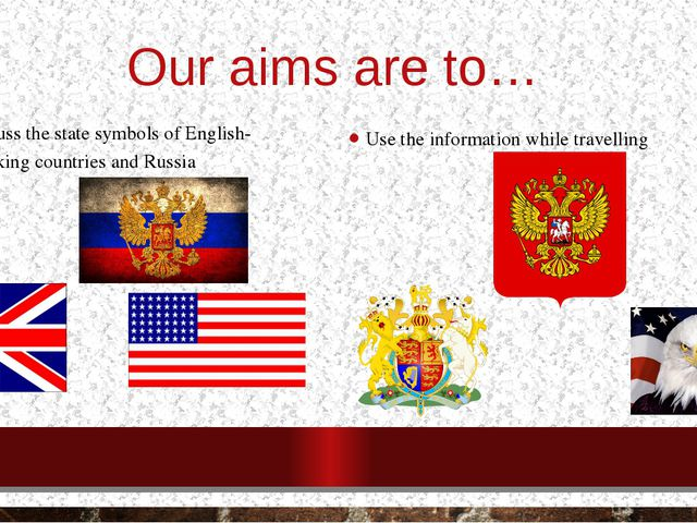 Our aims are to… Discuss the state symbols of English-speaking countries and...