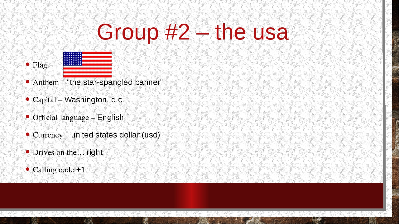 "Group #2 – the usa Flag – Anthem – ""the star-spangled banner"" Capital – Washi..."