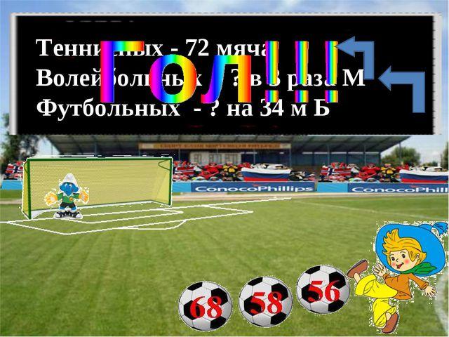 Теннисных - 72 мяча Волейбольных - ? в 3 раза М Футбольных - ? на 34 м Б