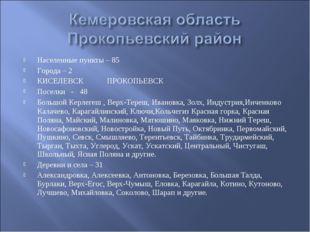 Населенные пункты – 85 Города – 2 КИСЕЛЕВСК ПРОКОПЬЕВСК Поселки - 48 Большой